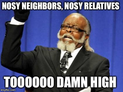 Too Damn High Meme | NOSY NEIGHBORS, NOSY RELATIVES TOOOOOO DAMN HIGH | image tagged in memes,too damn high | made w/ Imgflip meme maker