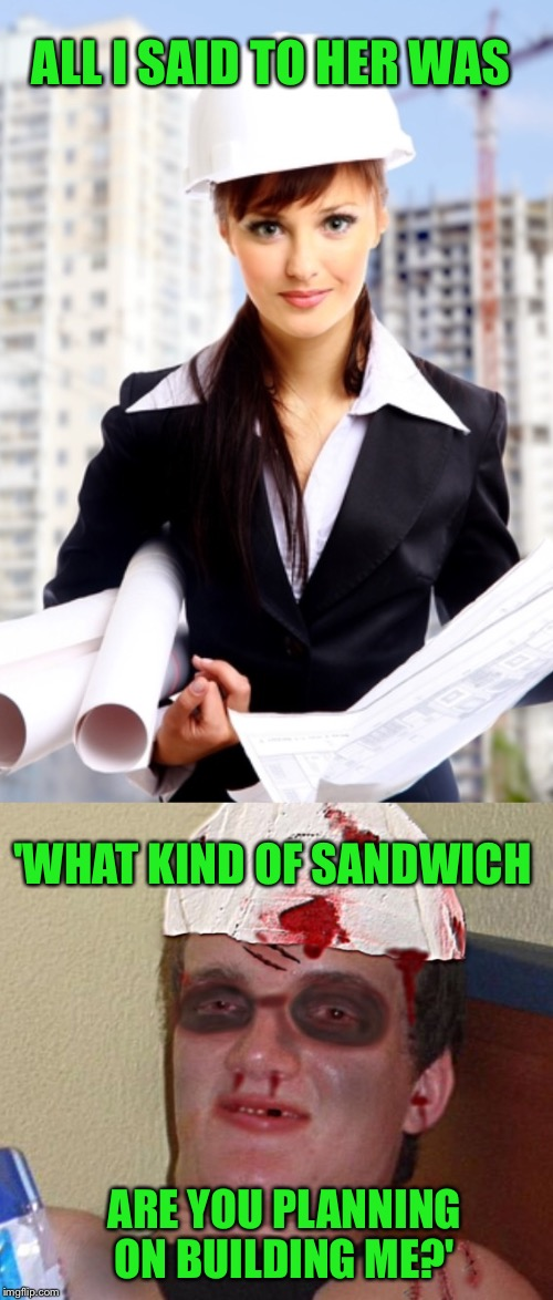 Mo-om, Dad's making gender stereotype jokes again! (Sorry Ladies) | ALL I SAID TO HER WAS ARE YOU PLANNING ON BUILDING ME?' 'WHAT KIND OF SANDWICH | image tagged in 10 guy,female,architect,sandwich,gender,stereotype | made w/ Imgflip meme maker