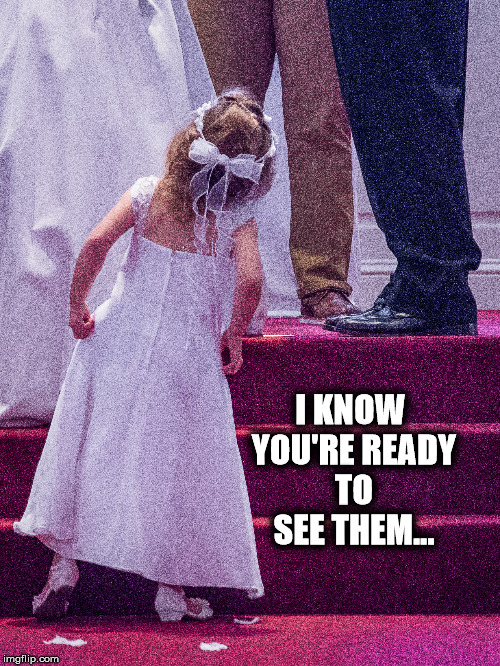 I KNOW YOU'RE READY TO SEE THEM... | image tagged in wedding | made w/ Imgflip meme maker