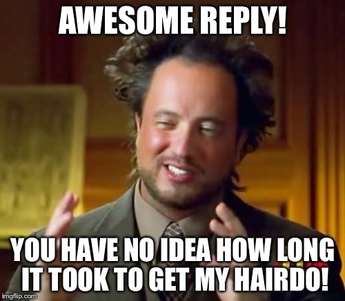 Ancient Aliens Meme | AWESOME REPLY! YOU HAVE NO IDEA HOW LONG IT TOOK TO GET MY HAIRDO! | image tagged in memes,ancient aliens | made w/ Imgflip meme maker