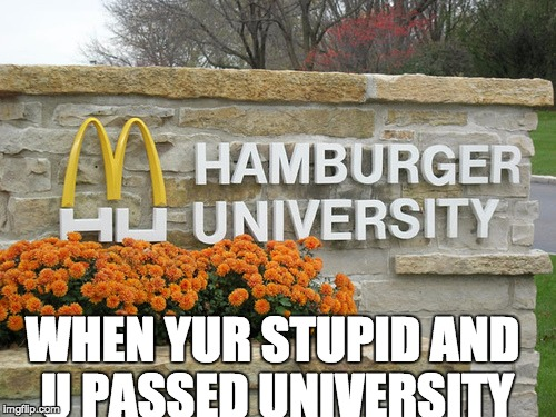 WHEN YUR STUPID AND U PASSED UNIVERSITY | image tagged in hamburger univesity | made w/ Imgflip meme maker