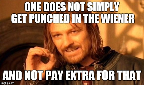 One Does Not Simply Meme | ONE DOES NOT SIMPLY GET PUNCHED IN THE WIENER AND NOT PAY EXTRA FOR THAT | image tagged in memes,one does not simply | made w/ Imgflip meme maker