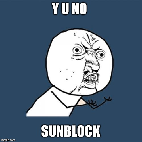 Y U No Meme | Y U NO SUNBLOCK | image tagged in memes,y u no | made w/ Imgflip meme maker