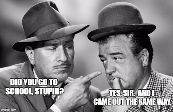 DID YOU GO TO SCHOOL, STUPID? YES, SIR.  AND I CAME OUT THE SAME WAY. | image tagged in abbott and costello | made w/ Imgflip meme maker