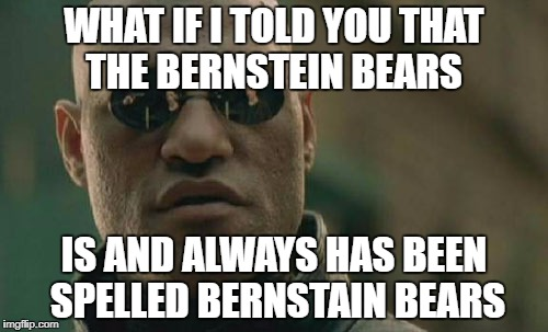 Matrix Morpheus Meme | WHAT IF I TOLD YOU THAT THE BERNSTEIN BEARS IS AND ALWAYS HAS BEEN SPELLED BERNSTAIN BEARS | image tagged in memes,matrix morpheus | made w/ Imgflip meme maker