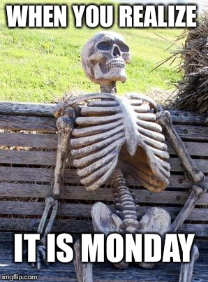 Waiting Skeleton Meme | WHEN YOU REALIZE IT IS MONDAY | image tagged in memes,waiting skeleton | made w/ Imgflip meme maker