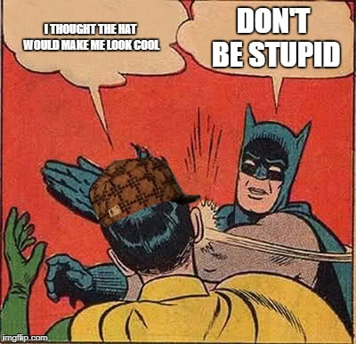 Batman Slapping Robin Meme | I THOUGHT THE HAT WOULD MAKE ME LOOK COOL DON'T BE STUPID | image tagged in memes,batman slapping robin,scumbag | made w/ Imgflip meme maker