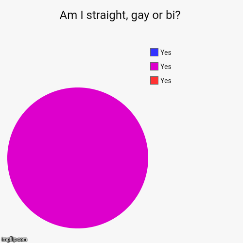 Am I straight, gay or bi? | Yes, Yes, Yes | image tagged in funny,pie charts | made w/ Imgflip chart maker