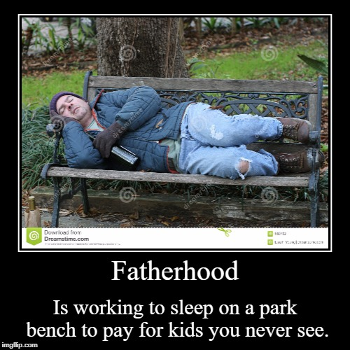Fatherhood | Is working to sleep on a park bench to pay for kids you never see. | image tagged in funny,demotivationals | made w/ Imgflip demotivational maker
