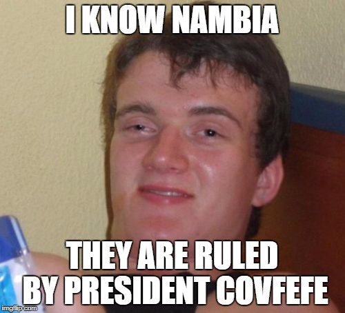 10 Guy Meme | I KNOW NAMBIA THEY ARE RULED BY PRESIDENT COVFEFE | image tagged in memes,10 guy | made w/ Imgflip meme maker