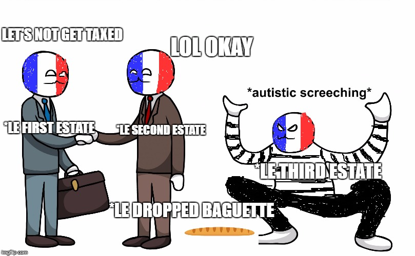 French Revolution | LET'S NOT GET TAXED LOL OKAY *LE FIRST ESTATE *LE SECOND ESTATE *LE THIRD ESTATE *LE DROPPED BAGUETTE | image tagged in french,frenchrevolution,baguette,triggered | made w/ Imgflip meme maker