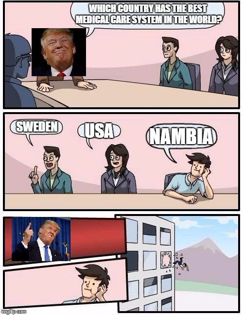 You are FIRED! | WHICH COUNTRY HAS THE BEST MEDICAL CARE SYSTEM IN THE WORLD? USA NAMBIA SWEDEN | image tagged in trump boardroom suggestion,nambia,trump,memes | made w/ Imgflip meme maker