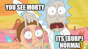 YOU SEE MORTY ITS (BURP) NORMAL | image tagged in memes,rick and morty,funny | made w/ Imgflip meme maker