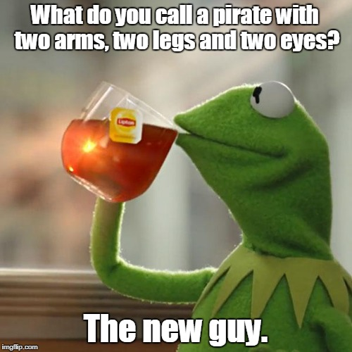 But Thats None Of My Business Meme | What do you call a pirate with two arms, two legs and two eyes? The new guy. | image tagged in memes,but thats none of my business,kermit the frog | made w/ Imgflip meme maker