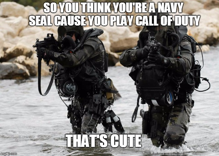 SO YOU THINK YOU'RE A NAVY SEAL CAUSE YOU PLAY CALL OF DUTY THAT'S CUTE | image tagged in navy seals | made w/ Imgflip meme maker