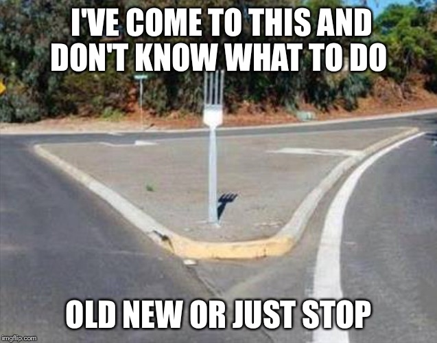 Fork in the road | I'VE COME TO THIS AND DON'T KNOW WHAT TO DO OLD NEW OR JUST STOP | image tagged in fork in the road | made w/ Imgflip meme maker