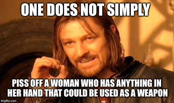 One Does Not Simply Meme | ONE DOES NOT SIMPLY PISS OFF A WOMAN WHO HAS ANYTHING IN HER HAND THAT COULD BE USED AS A WEAPON | image tagged in memes,one does not simply | made w/ Imgflip meme maker