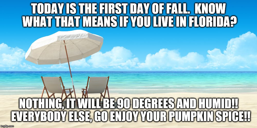 1st day of fall | TODAY IS THE FIRST DAY OF FALL.  KNOW WHAT THAT MEANS IF YOU LIVE IN FLORIDA? NOTHING, IT WILL BE 90 DEGREES AND HUMID!!  EVERYBODY ELSE, GO | image tagged in fall | made w/ Imgflip meme maker