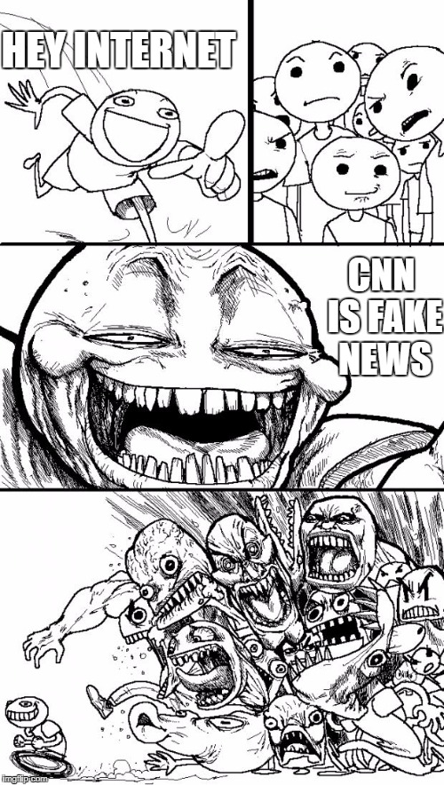 hey liberals | HEY INTERNET CNN IS FAKE NEWS | image tagged in memes,hey internet | made w/ Imgflip meme maker
