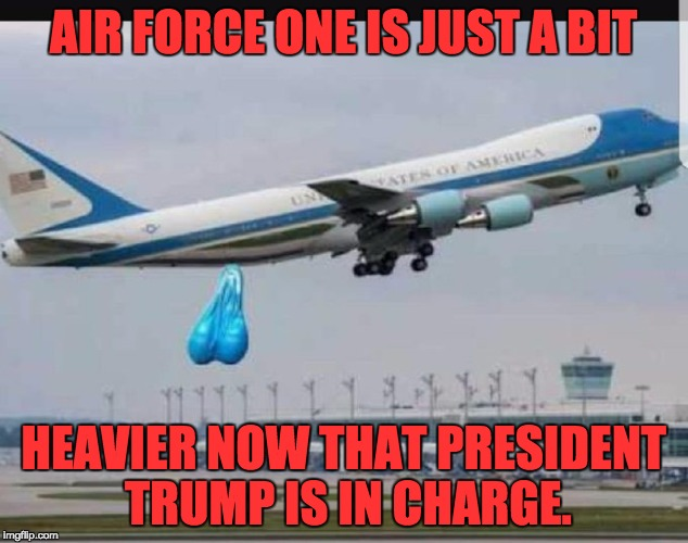 Finally we got someone in the oval office who has the cojones.  | AIR FORCE ONE IS JUST A BIT HEAVIER NOW THAT PRESIDENT TRUMP IS IN CHARGE. | image tagged in air force one | made w/ Imgflip meme maker