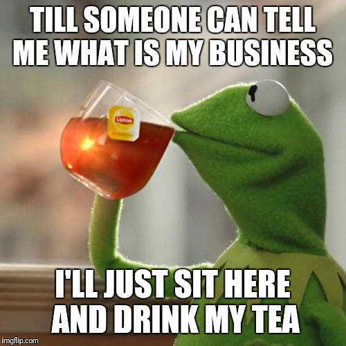 But Thats None Of My Business | TILL SOMEONE CAN TELL ME WHAT IS MY BUSINESS I'LL JUST SIT HERE AND DRINK MY TEA | image tagged in memes,but thats none of my business,kermit the frog | made w/ Imgflip meme maker