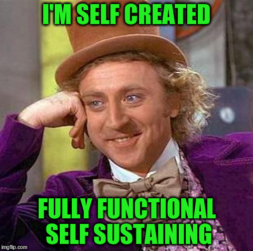 Creepy Condescending Wonka Meme | I'M SELF CREATED FULLY FUNCTIONAL SELF SUSTAINING | image tagged in memes,creepy condescending wonka | made w/ Imgflip meme maker