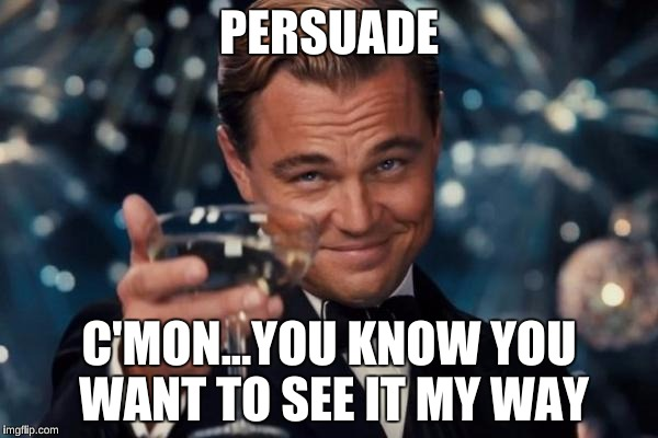 Leonardo Dicaprio Cheers Meme | PERSUADE C'MON...YOU KNOW YOU WANT TO SEE IT MY WAY | image tagged in memes,leonardo dicaprio cheers | made w/ Imgflip meme maker