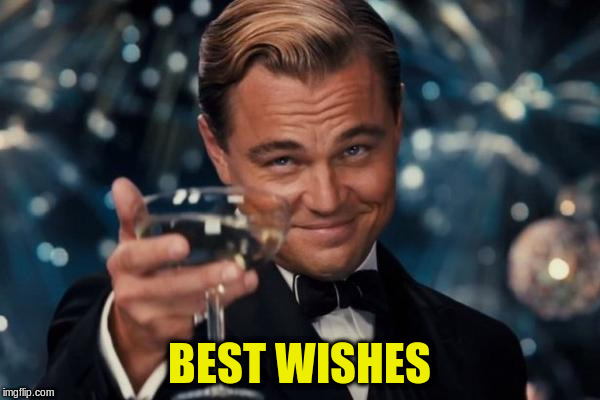 Leonardo Dicaprio Cheers Meme | BEST WISHES | image tagged in memes,leonardo dicaprio cheers | made w/ Imgflip meme maker