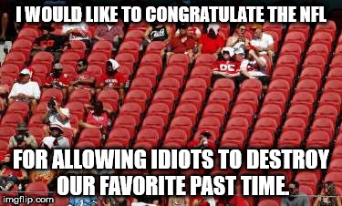 #BoycottTheNFL | I WOULD LIKE TO CONGRATULATE THE NFL FOR ALLOWING IDIOTS TO DESTROY OUR FAVORITE PAST TIME. | image tagged in nfl memes,protesters,liberalism is a mental disorder | made w/ Imgflip meme maker