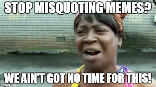Aint Nobody Got Time For That Meme | STOP MISQUOTING MEMES? WE AIN'T GOT NO TIME FOR THIS! | image tagged in memes,aint nobody got time for that | made w/ Imgflip meme maker