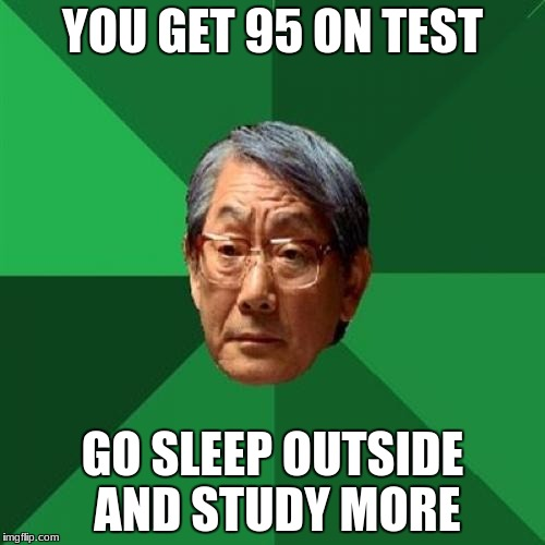High Expectations Asian Father Meme | YOU GET 95 ON TEST GO SLEEP OUTSIDE AND STUDY MORE | image tagged in memes,high expectations asian father | made w/ Imgflip meme maker