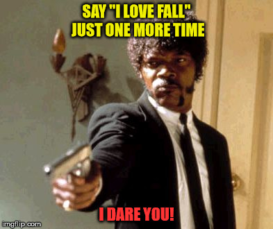 "Say That Again I Dare You Meme | SAY ""I LOVE FALL"" JUST ONE MORE TIME I DARE YOU! 
