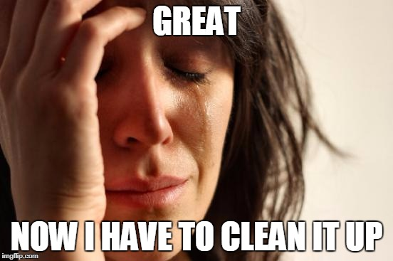 First World Problems Meme | GREAT NOW I HAVE TO CLEAN IT UP | image tagged in memes,first world problems | made w/ Imgflip meme maker