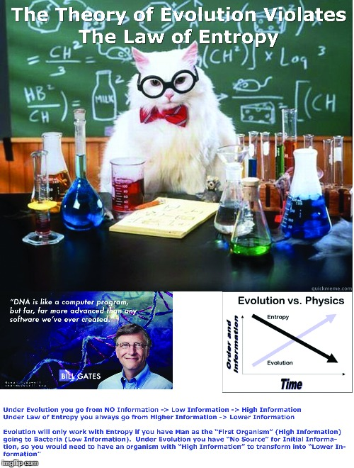 image tagged in evolution debunked,entropy,thermodynamics,dna,bill gates | made w/ Imgflip meme maker