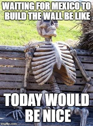 #Make America Great Again | WAITING FOR MEXICO TO BUILD THE WALL BE LIKE TODAY WOULD BE NICE | image tagged in memes,waiting skeleton | made w/ Imgflip meme maker
