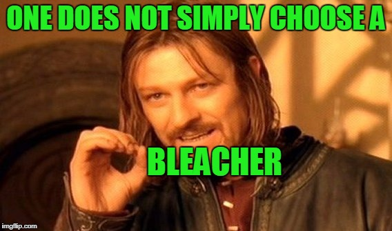 One Does Not Simply Meme | ONE DOES NOT SIMPLY CHOOSE A BLEACHER | image tagged in memes,one does not simply | made w/ Imgflip meme maker