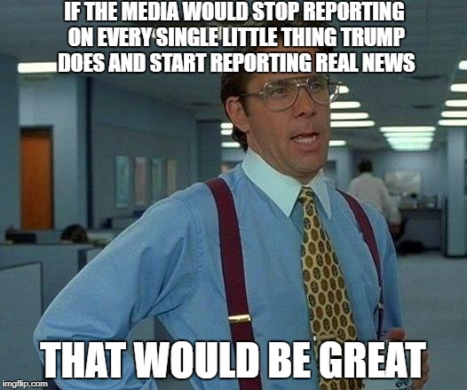 That Would Be Great Meme | IF THE MEDIA WOULD STOP REPORTING ON EVERY SINGLE LITTLE THING TRUMP DOES AND START REPORTING REAL NEWS THAT WOULD BE GREAT | image tagged in memes,that would be great | made w/ Imgflip meme maker