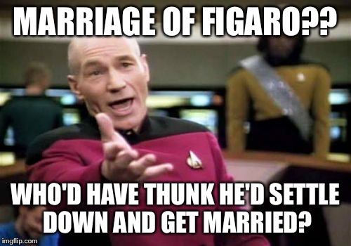 Droit du Seigneur - who ever said medieval times weren't freaky? | MARRIAGE OF FIGARO?? WHO'D HAVE THUNK HE'D SETTLE DOWN AND GET MARRIED? | image tagged in memes,picard wtf | made w/ Imgflip meme maker
