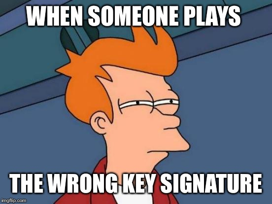 Futurama Fry Meme | WHEN SOMEONE PLAYS THE WRONG KEY SIGNATURE | image tagged in memes,futurama fry | made w/ Imgflip meme maker