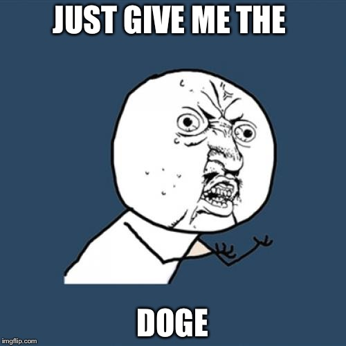 Y U No Meme | JUST GIVE ME THE DOGE | image tagged in memes,y u no | made w/ Imgflip meme maker