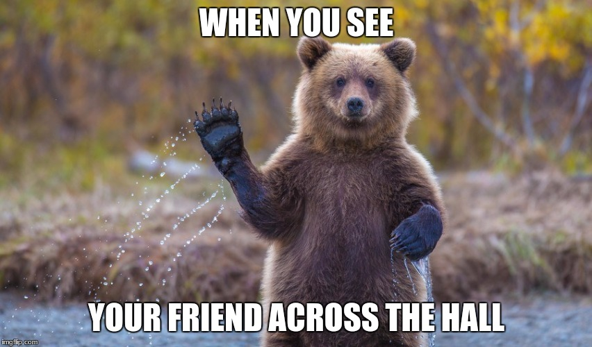 WHEN YOU SEE YOUR FRIEND ACROSS THE HALL | image tagged in hi garry | made w/ Imgflip meme maker