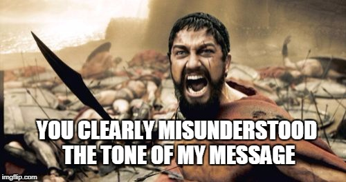 Sparta Leonidas Meme | YOU CLEARLY MISUNDERSTOOD THE TONE OF MY MESSAGE | image tagged in memes,sparta leonidas | made w/ Imgflip meme maker