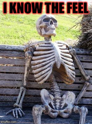 Waiting Skeleton Meme | I KNOW THE FEEL | image tagged in memes,waiting skeleton | made w/ Imgflip meme maker