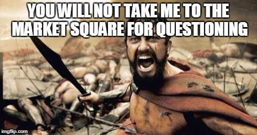 Sparta Leonidas Meme | YOU WILL NOT TAKE ME TO THE MARKET SQUARE FOR QUESTIONING | image tagged in memes,sparta leonidas | made w/ Imgflip meme maker