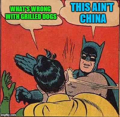Batman Slapping Robin Meme | WHAT'S WRONG WITH GRILLED DOGS THIS AIN'T CHINA | image tagged in memes,batman slapping robin | made w/ Imgflip meme maker