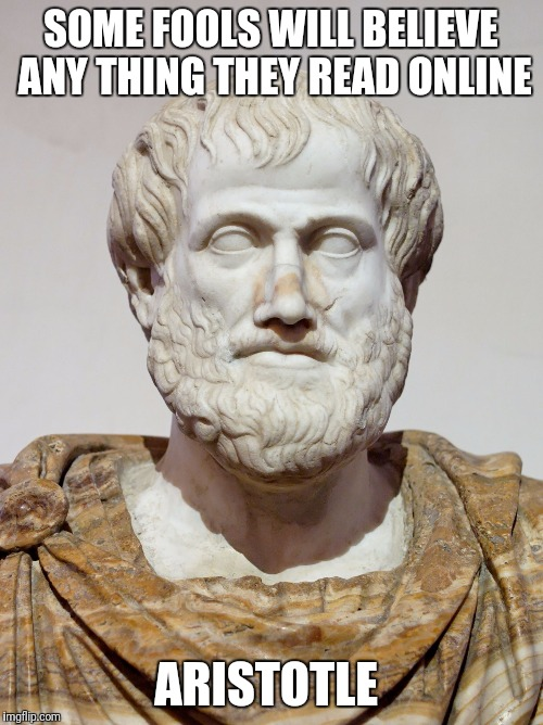 SOME FOOLS WILL BELIEVE ANY THING THEY READ ONLINE ARISTOTLE | image tagged in what does the aristotle say | made w/ Imgflip meme maker