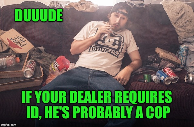 Stoner on couch | DUUUDE IF YOUR DEALER REQUIRES ID, HE'S PROBABLY A COP | image tagged in stoner on couch | made w/ Imgflip meme maker