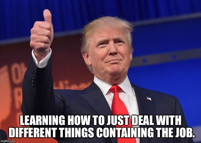 donald trump | LEARNING HOW TO JUST DEAL WITH DIFFERENT THINGS CONTAINING THE JOB. | image tagged in donald trump | made w/ Imgflip meme maker
