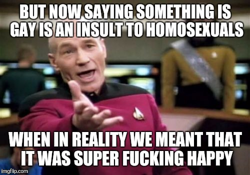 Picard Wtf Meme | BUT NOW SAYING SOMETHING IS GAY IS AN INSULT TO HOMOSEXUALS WHEN IN REALITY WE MEANT THAT IT WAS SUPER F**KING HAPPY | image tagged in memes,picard wtf | made w/ Imgflip meme maker