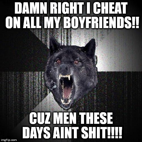 Insanity Wolf Meme | DAMN RIGHT I CHEAT ON ALL MY BOYFRIENDS!! CUZ MEN THESE DAYS AINT SHIT!!!! | image tagged in memes,insanity wolf | made w/ Imgflip meme maker